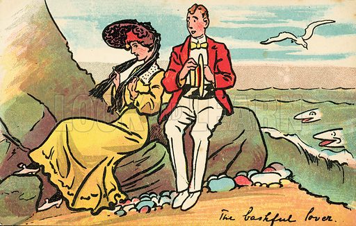 Lovers on a beach. Postcard, early 20th century.