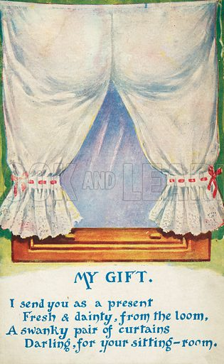 Gift of a pair of curtains (or bloomers). Postcard, early 20th century.