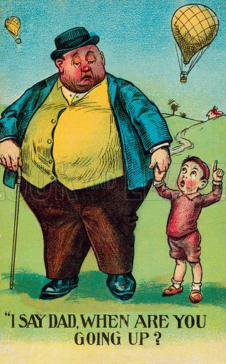 Obesity: boy asking his fat father when he is going to make a balloon ascent. Postcard, early 20th century.