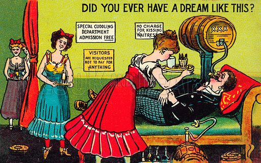 A man's dream of drink and women. Postcard, early 20th century.