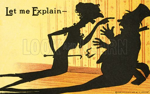 Bullying: shadow cast by a wife telling off her husband. Postcard, early 20th century.