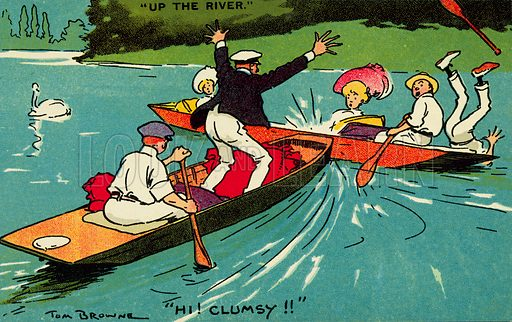 Collision between two boats on a river. Postcard, early 20th century.