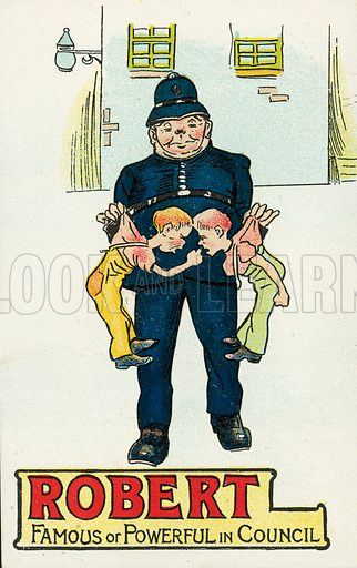 Policeman holding up two squabbling boys. Postcard, early 20th century.