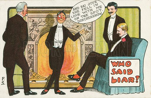 Deceit: man lying about his romantic success. Postcard, early 20th century.