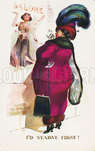 Woman looking disapprovingly at a poster advertising a belly dancing act. Postcard, early 20th century.