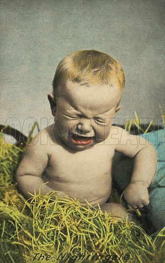 The nightingale: baby crying. Postcard, early 20th century.