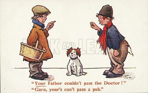 Dog watching two boys arguing about the faults of their fathers. Postcard, early 20th century.