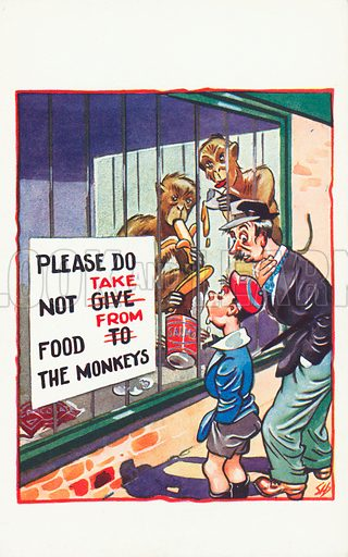 Clever monkeys at a zoo. Postcard, early 20th century.