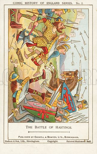 The Battle of Hastings, 1066. Postcard, early 20th century.