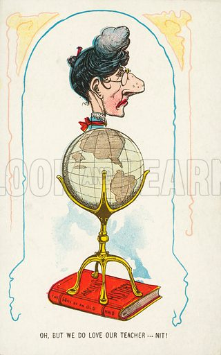 Caricature of a schoolteacher. Postcard, early 20th century.