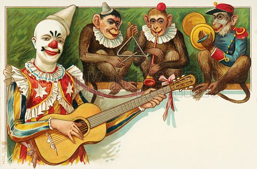 Clown and three monkeys playing music. Postcard, early 20th century.