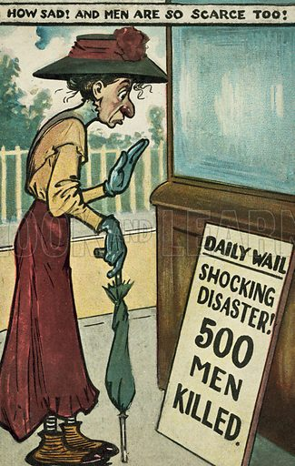 Elderly spinster reading a headline reporting a disaster. Postcard, early 20th century.