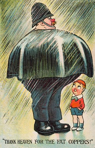 Obesity: small boy sheltering from the rain under the cape of a fat policeman. Postcard, early 20th century.
