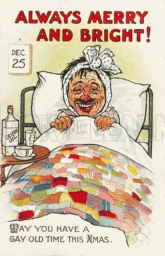 Ill man recovering in bed at Christmas. Postcard, early 20th century.
