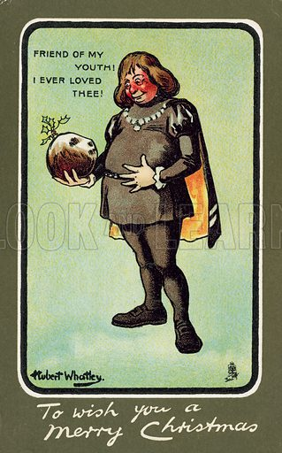 Not Hamlet with the skull of Yorick, but Fat man admiring a Christmas pudding