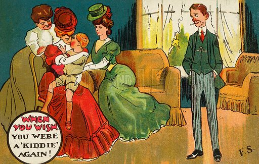 Man envying the attention being lavished on a young boy by two attractive young women. Postcard, early 20th century.