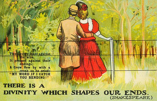 Couple embracing and leaning against a wire fence. Postcard, early 20th century.