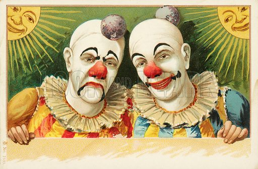 Clowns with happy and sad faces. Postcard, early 20th century.