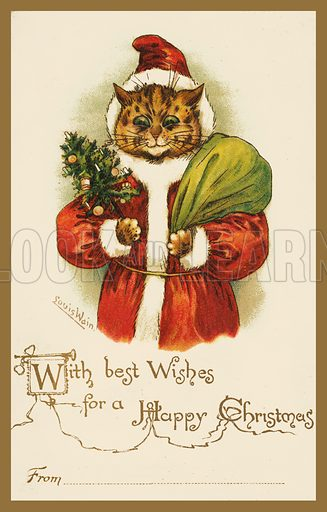 Cat wearing a Father Christmas costume. Postcard, early 20th century.