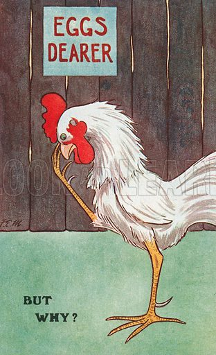 Cockerel pondering the reason for an increase in the price of eggs. Postcard, early 20th century.