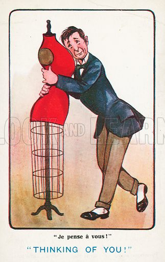 Thinking of you: lovesick man embracing a shop dummy. Postcard, early 20th century.
