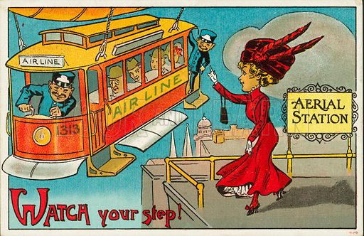 Aerial tram arriving at a stop. Postcard, early 20th century.