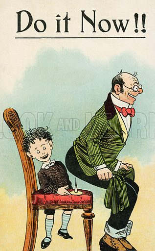 Man about to sit on a drawing pin left on his chair by a naughty boy. Postcard, early 20th century.
