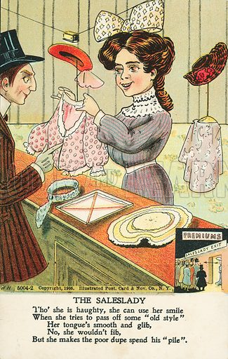 Saleswoman persuading a man to make a purchase in a clothes shop. Postcard, early 20th century.