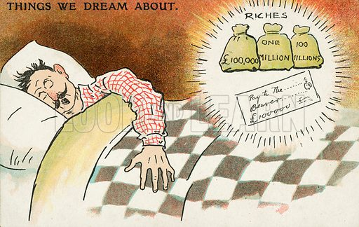 Man asleep in bed dreaming of being rich. Postcard, early 20th century.