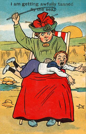 Child abuse: woman spanking a child at the seaside. Postcard, early 20th century.