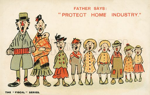 "Father says ""protect home industry"". Postcard, early 20th century."