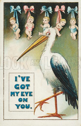 Stork with babies ready to be delivered. Postcard, early 20th century.
