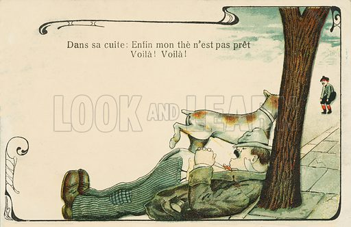 Rough sleeping :dog urinating on a tramp sleeping at the base of a tree on a street. Postcard, early 20th century.