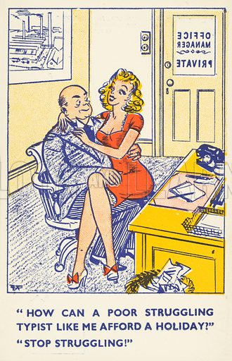 Sex in the workplace. Postcard, early 20th century.