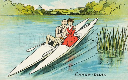 Lovers canoeing. Postcard, early 20th century.