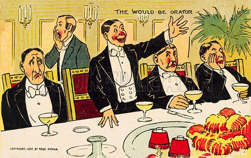 The would be orator: man delivering a boring speech at a dinner