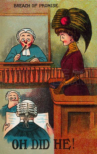 Woman providing shocking evidence in court. Postcard, early 20th century.