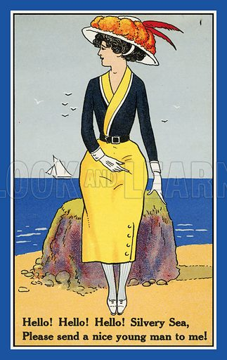 Woman at the seaside hoping to find love. Postcard, early 20th century.