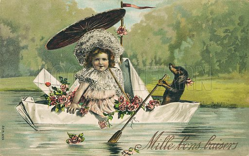 Dog rowing a paper boat carrying a little girl. Postcard, early 20th century.