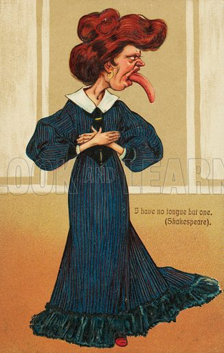 Woman sticking her tongue out. Postcard, early 20th century.