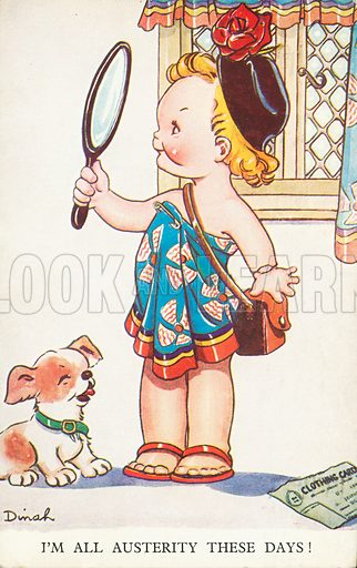 Child looking at her reflection in a mirror. Postcard, early 20th century.