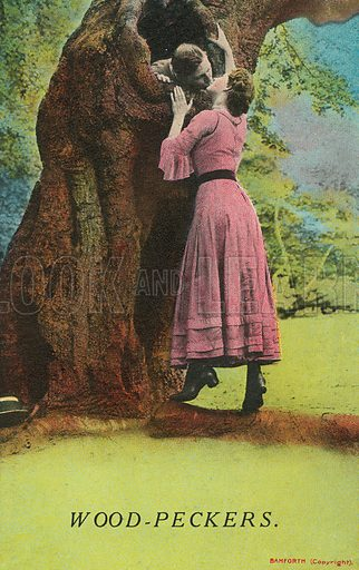 Woodpeckers: woman kissing a man inside a hollow tree. Postcard, early 20th century.