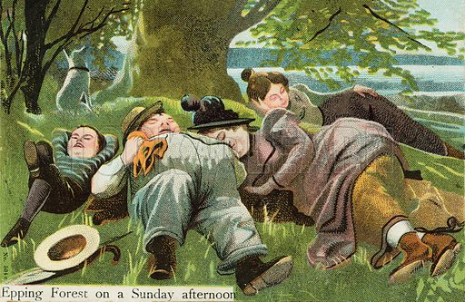 Epping Forest on a Saturday afternoon. Postcard, early 20th century.