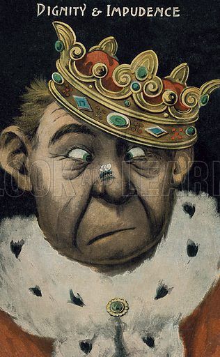 Dignity and impudence: a king looking at a fly that has landed on his nose. Postcard, early 20th century.