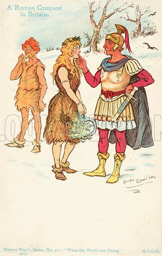 A Roman conquest in Britain. Postcard, early 20th century.