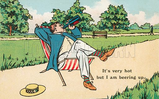 Man relaxing in a deck chair and drinking a bottle of beer on a hot summer's day. Postcard, early 20th century.