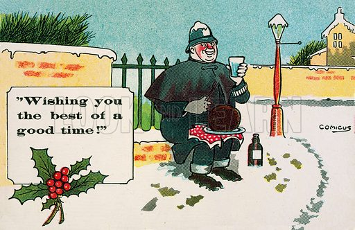 Policeman enjoying a drink and a Christmas pudding in the snow. Postcard, early 20th century.