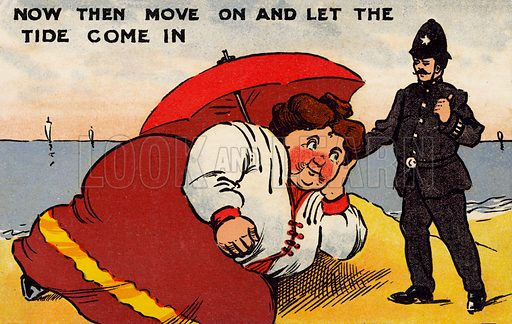 Obesity: policeman trying to move on a large woman lying on a beach and stopping the tide from coming in
