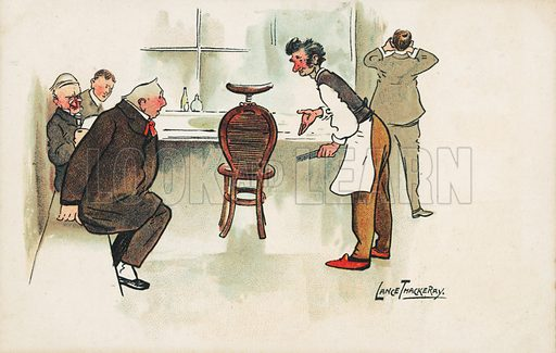 Scene in a barber's shop. Postcard, early 20th century.