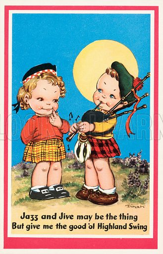 Jazz and jive may be the thing but give me the good ol' Highland fling: Scottish boy playing the bagpipes. Postcard, early 20th century.